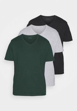 3 PACK - Jednoduché triko - khaki/grey/black