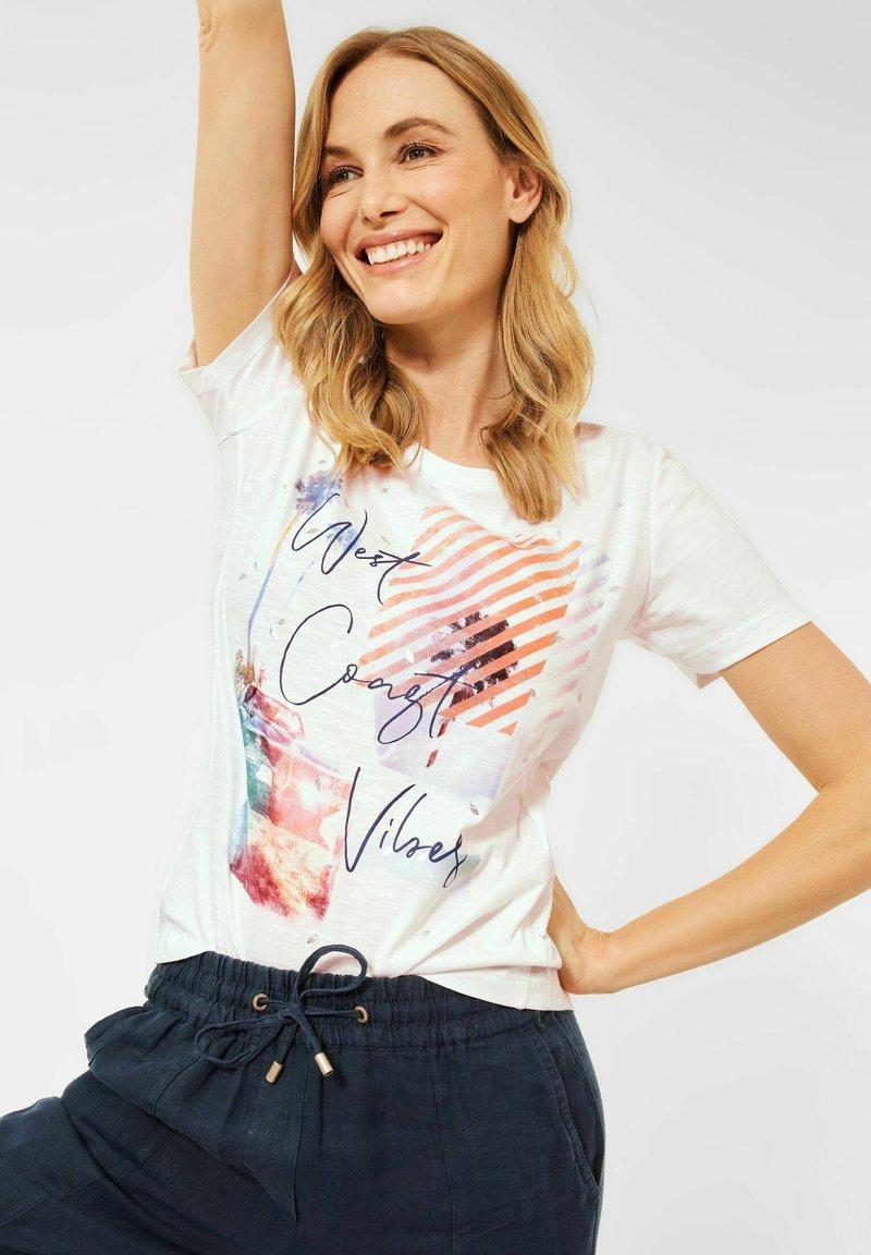 Cecil - Print T-shirt - weiß