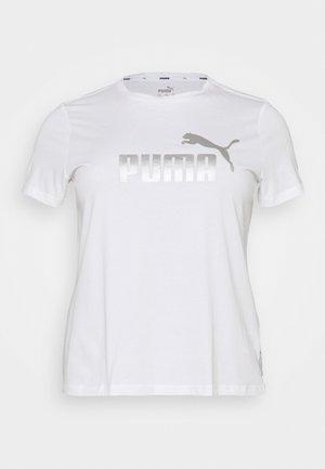 METALLIC LOGO TEE PLUS SIZE - Print T-shirt - white/silver