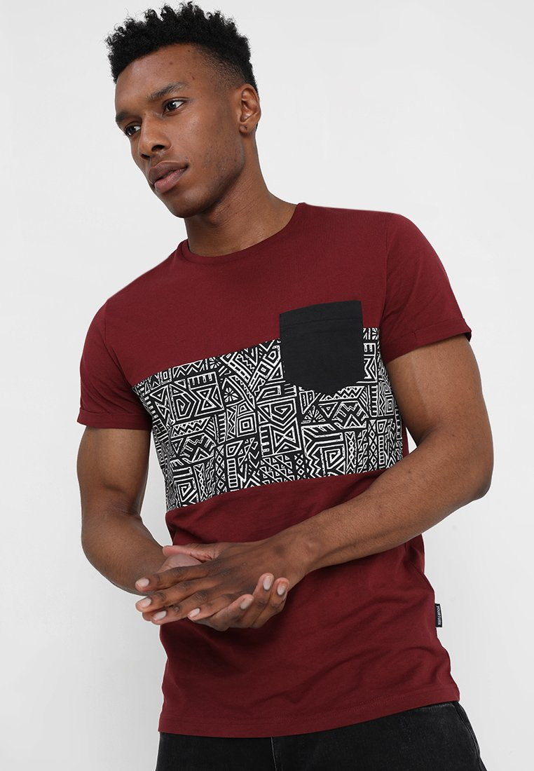 Pier One - T-shirt con stampa - bordeaux