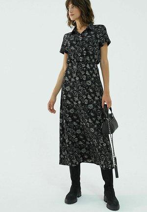 BLACK WITH SKELETON PATTERN AND SHORT SLEEVES - Shirt dress - noir