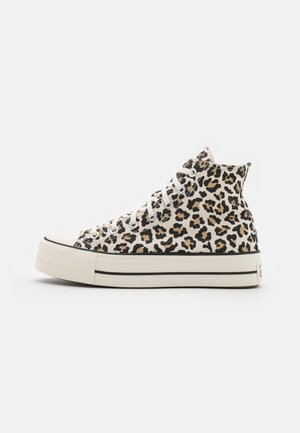 CHUCK TAYLOR ALL STAR ARCHIVE LEOPARD PRINT PLATFORM - Høye joggesko - driftwood/light fawn/black