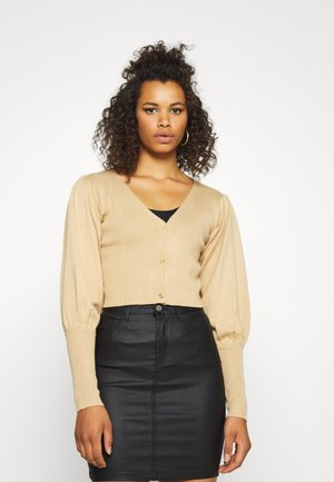 BALLOON SLEEVE CROPPED CARDIGAN - Vest - tan