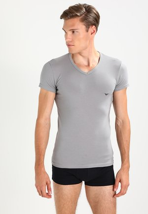 V NECK 2 PACK - T-shirt - bas - black/gray