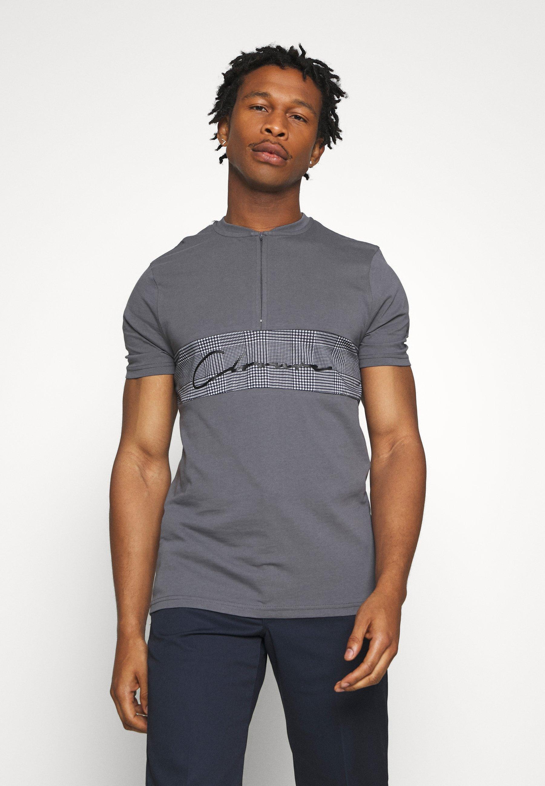 CLOSURE London BAND ZIP CHECKED TEE - T-shirts med print - black