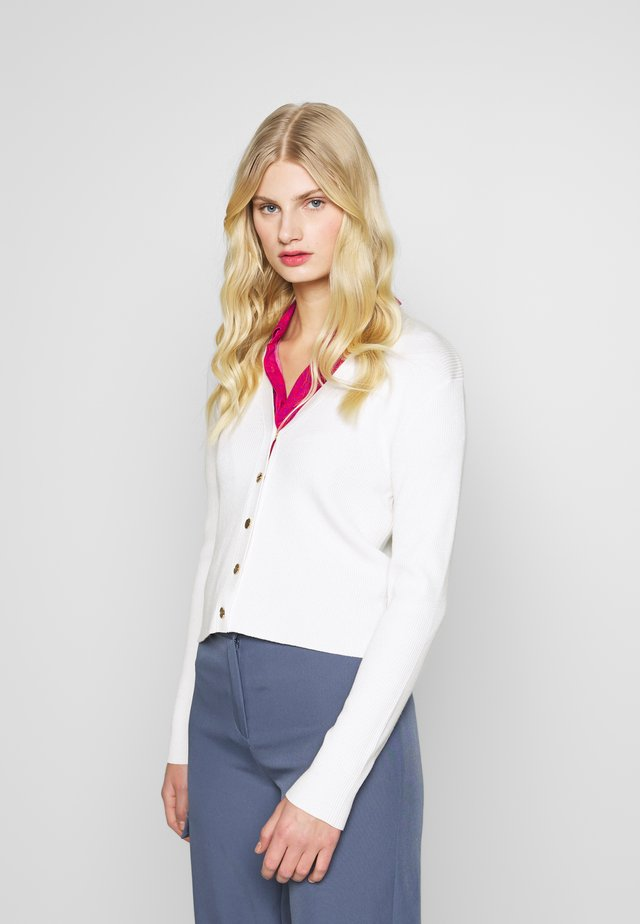 V-NECK BUTTON THROUGH - Cardigan - ivory