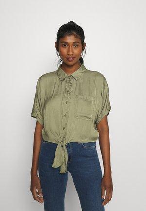 CORE TIE FRONT - Button-down blouse - olive