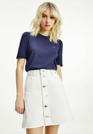 TJW SLIM RUFFLED  - Basic T-shirt - blue