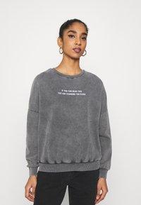 Even&Odd - Printed Oversized Sweatshirt - Sweatshirt - dark grey - 0
