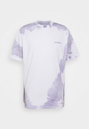 BOXY TEE - T-shirt med print - white/light purple