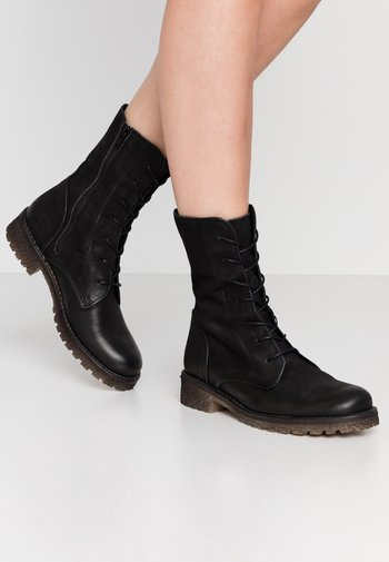 CASTER - Lace-up ankle boots - morat black