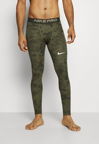 Nike Performance - Leggings - medium olive/white - 4