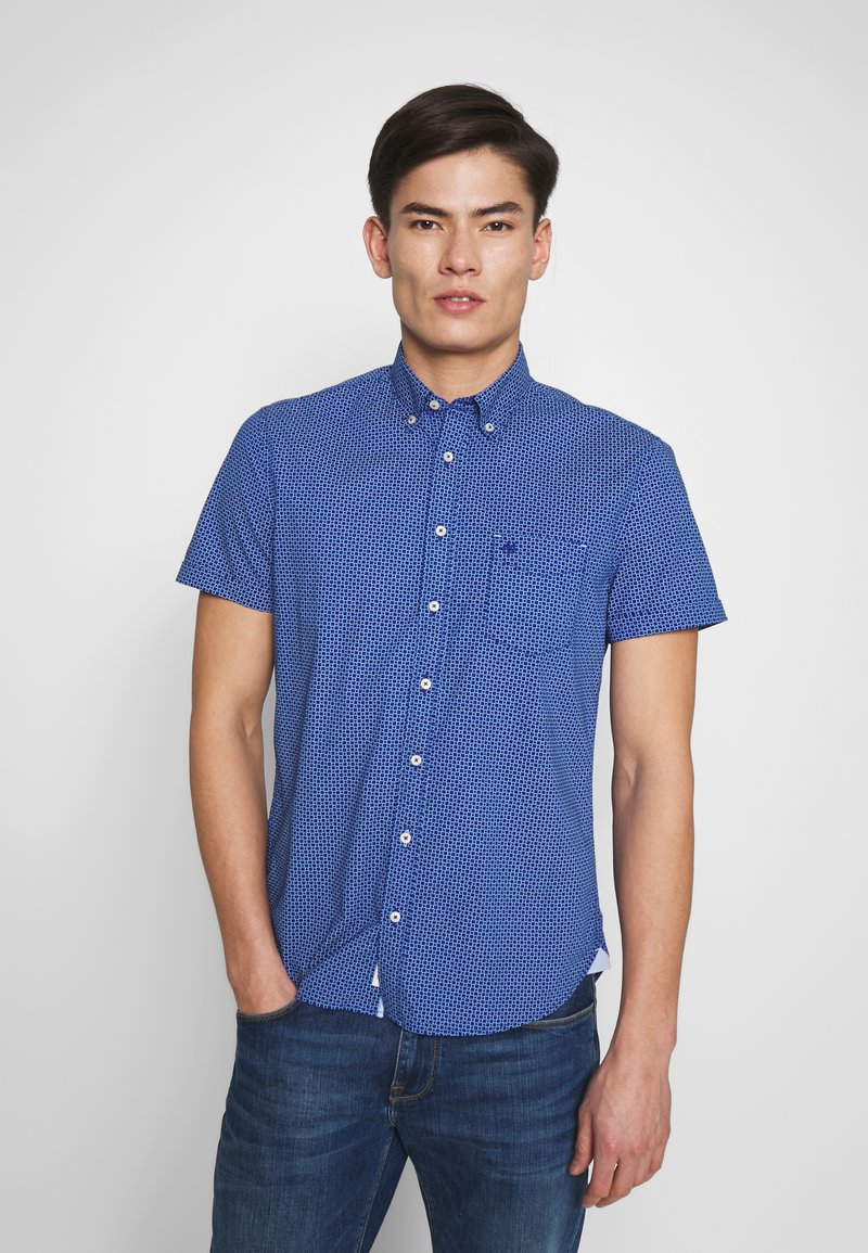 Marc O'Polo - BUTTON DOWN SHORT SLEEVE TURNED UP ONE POCKET FACING AT PLACKET - Shirt - mazarine blue