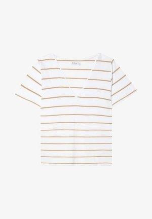 MIT V-AUSSCHNITT UND STREIFEN  - T-shirt z nadrukiem - beige