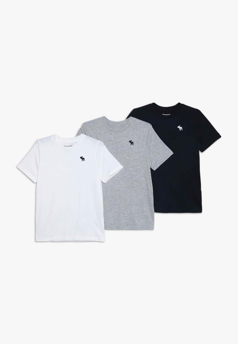 Abercrombie & Fitch - CREW 3 PACK - T-shirt con stampa - navy/white/grey
