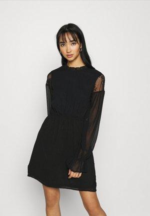 INSERT FRILL NECK DRESS - Kjole - black