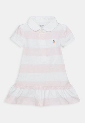 RUGBY STRIPE SET - Jersey dress - delicate pink/white