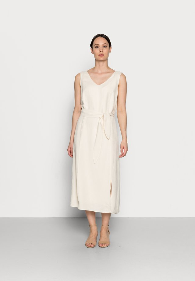 DRESS A-SAHPE LINEN MIDI - Sukienka letnia - soft powder beige