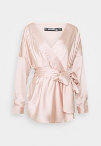 Missguided - OVERSIZED PLUNGE TIE WAIST BLOUSE - Blouse - champagne - 0