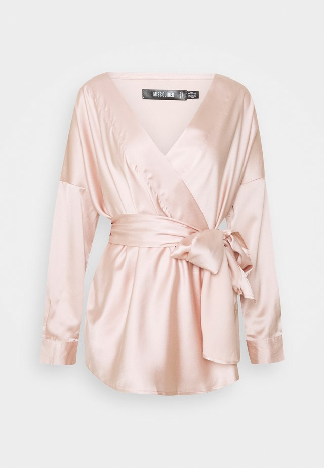 OVERSIZED PLUNGE TIE WAIST BLOUSE - Pusero - champagne