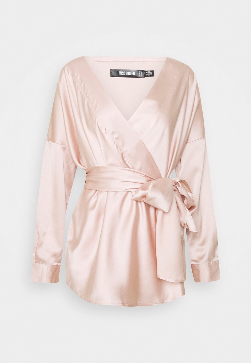 Missguided - OVERSIZED PLUNGE TIE WAIST BLOUSE - Blouse - champagne