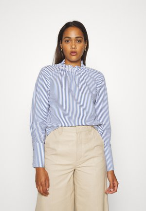 FEMININE WITH GATHERED COLLAR - Blouse - white/blue
