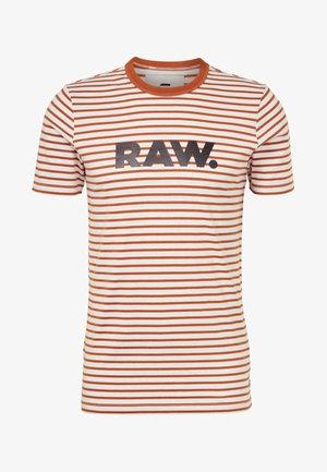 Print T-shirt - aged almond/white