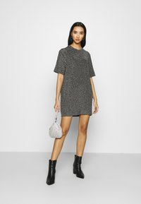 Monki - IZZY DRESS - Jersey dress - black/silver - 1