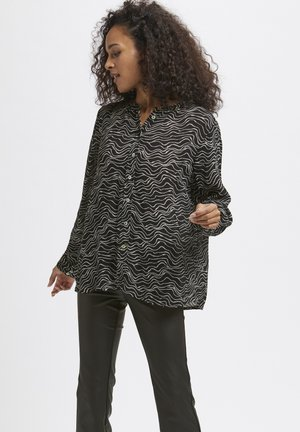 Button-down blouse - black, chalk lines