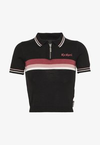 Kickers Classics - ZIP UP TOP WITH CHEST STRIPE DETAIL - Poloshirt - black/pink - 0