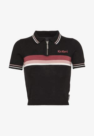 ZIP UP TOP WITH CHEST STRIPE DETAIL - Poloshirt - black/pink