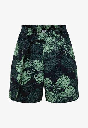 MIT HOHER TAILLE UND GÜRTEL - Shorts - dark blue/green