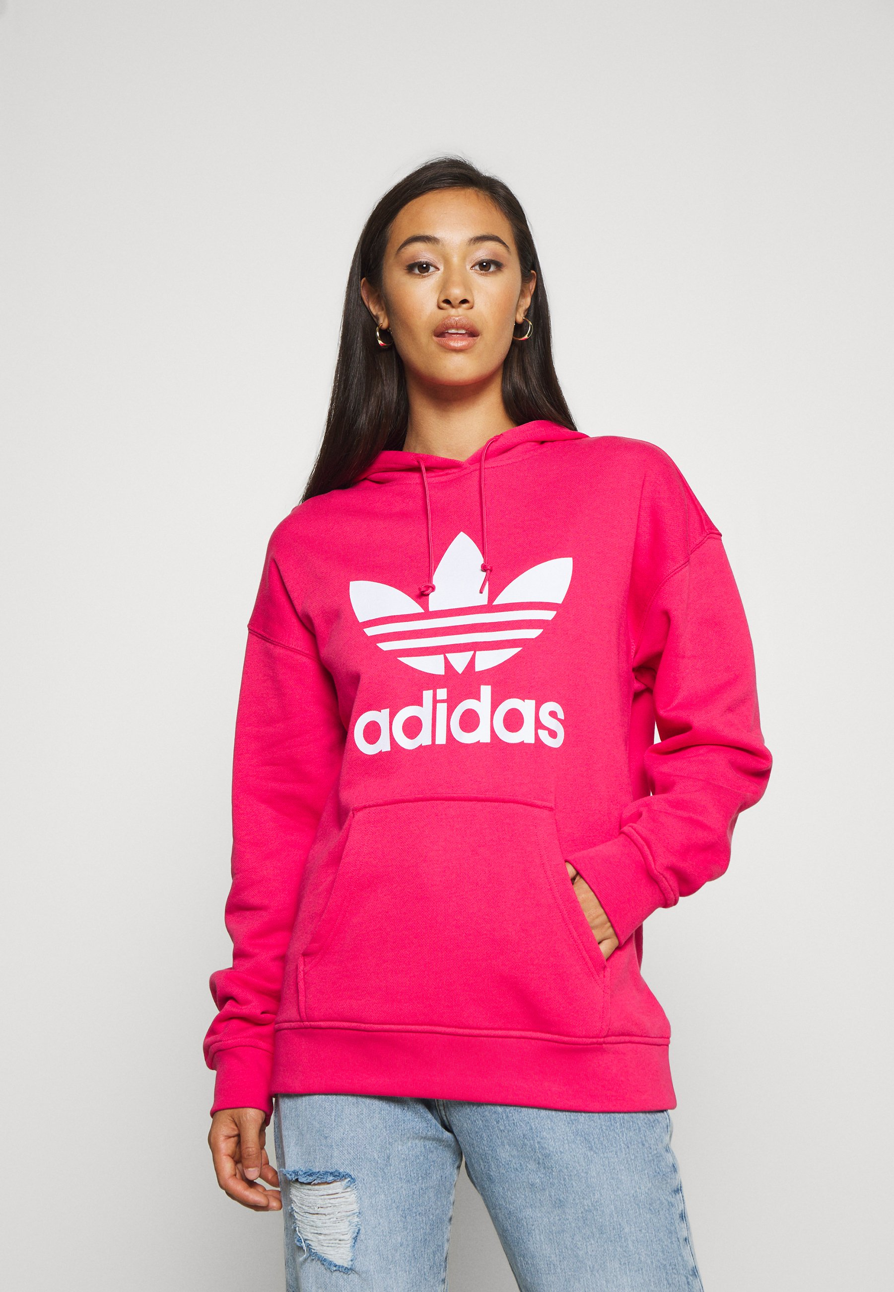 Arte amenaza salchicha  adidas Originals ADICOLOR TREFOIL ORIGINALS HODDIE - Hoodie - power pink/ white/pink - Zalando.co.uk