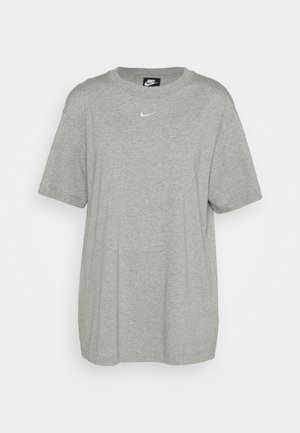 T-shirts med print - grey heather/white