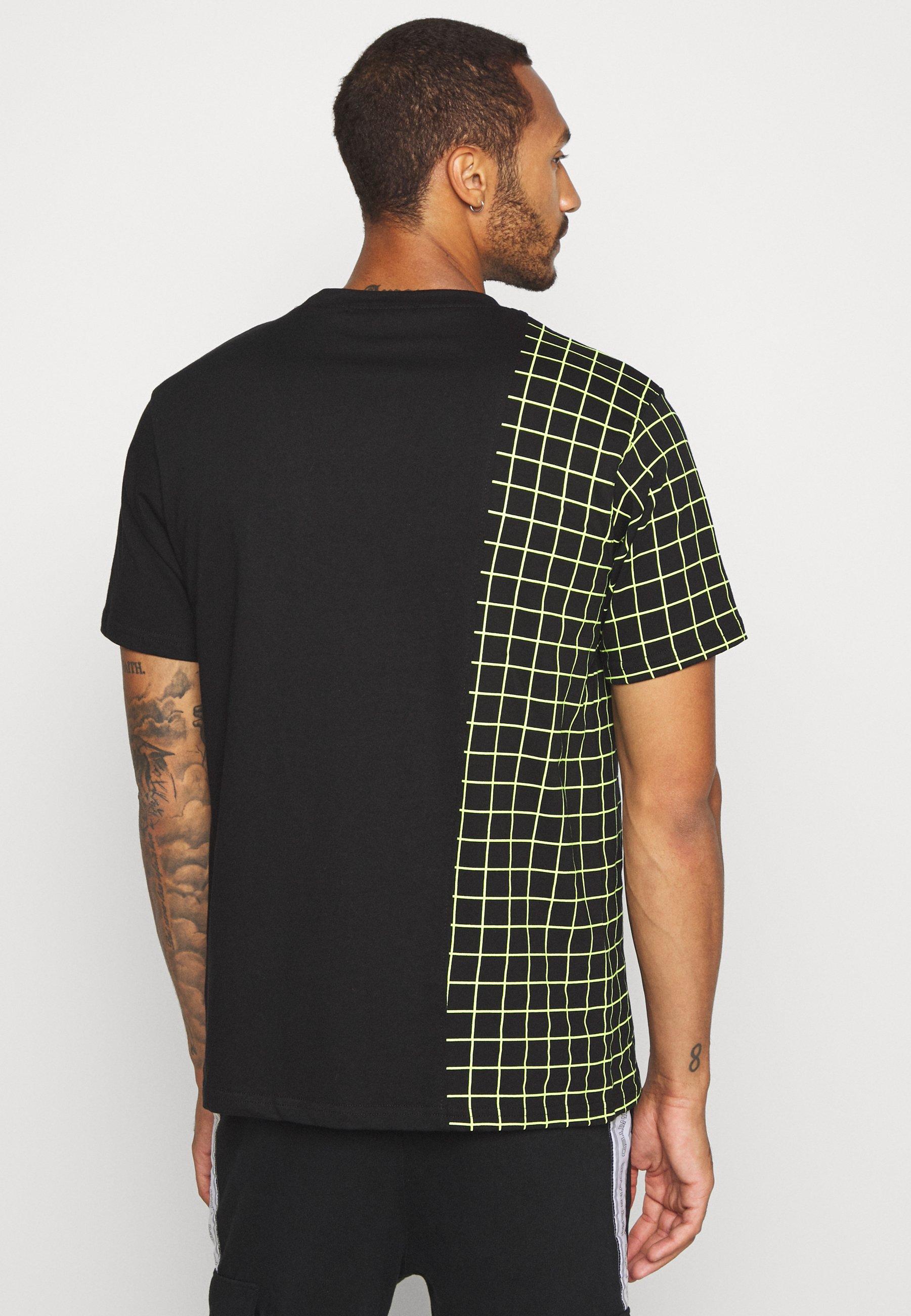 Mennace GRID CHECK SPLICE TEE - Print T-shirt - black NAfN6