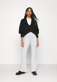 Topshop - TIE FLARE - Tracksuit bottoms - grey marl - 1