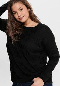 ONLY Carmakoma - CARAIRPLAIN PULLOVER - Jumper - black - 3
