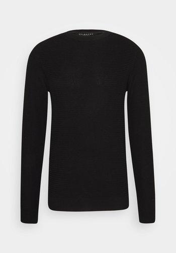 SLHCORNELIUS STRUCTURE CREW NECK - Stickad tröja - black