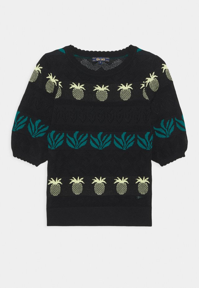 AGNES BELLSLEEVE PINEAPPLE - Neule - black
