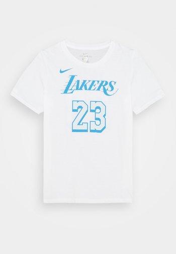 NBA CITY EDITION LEBRON JAMES LA LAKERS NAME NUMER TEE UNISEX - Print T-shirt - white