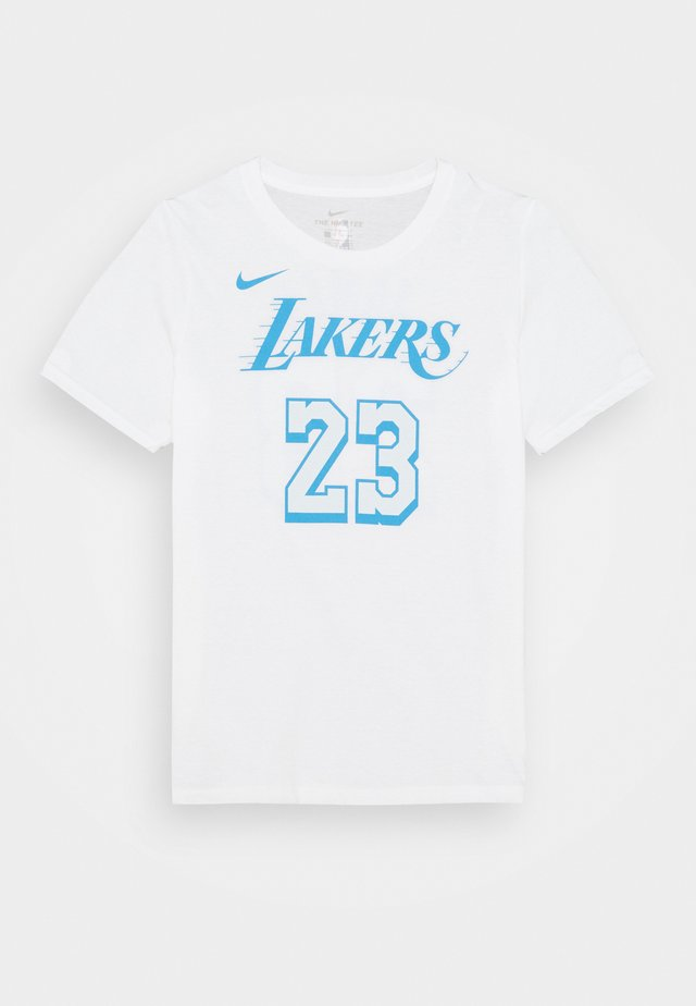 NBA CITY EDITION LEBRON JAMES LA LAKERS NAME NUMER TEE UNISEX - Print T-shirt - white