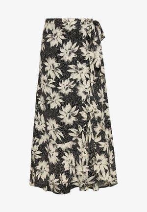 STARBURST FLORAL WRAP SKIRT - A-line skirt - black/white