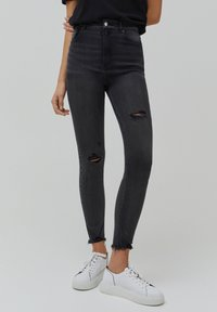 PULL&BEAR - SKINNY HIGH WAIST - Jeans Skinny Fit - dark grey - 0