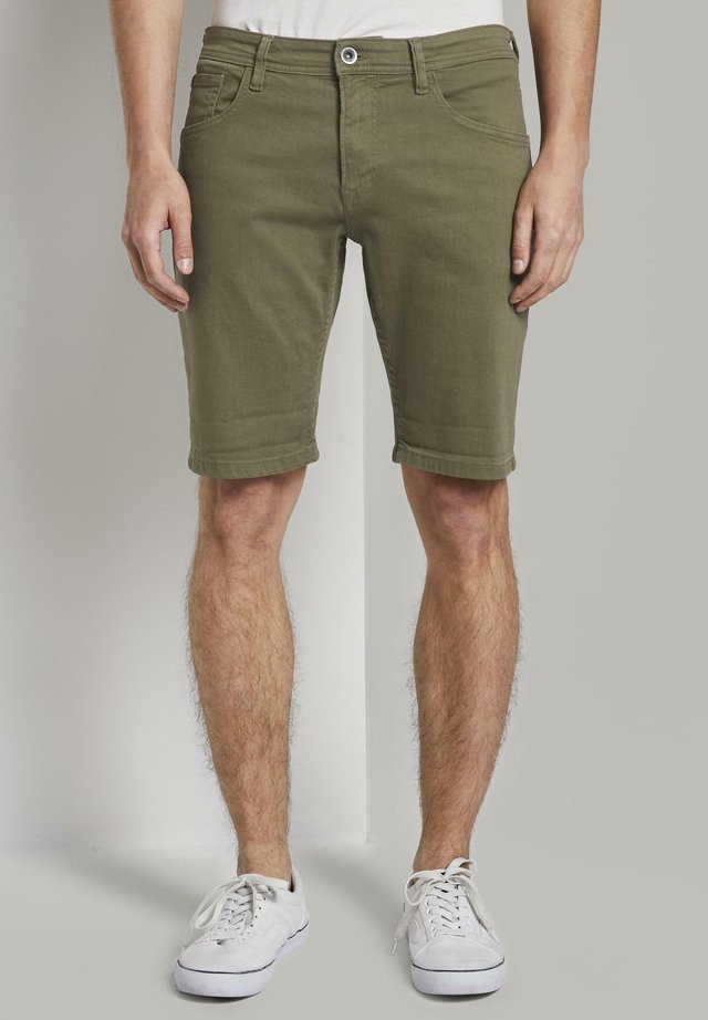 Denim shorts - dry greyish olive