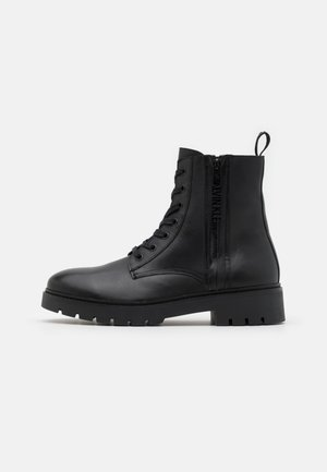 COMBAT MID LACEUP BOOT ZIP - Lace-up ankle boots - black