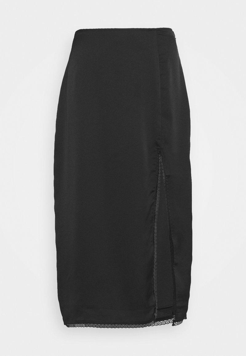 Abercrombie & Fitch - WEBEX TRIM MIDI - A-line skirt - black