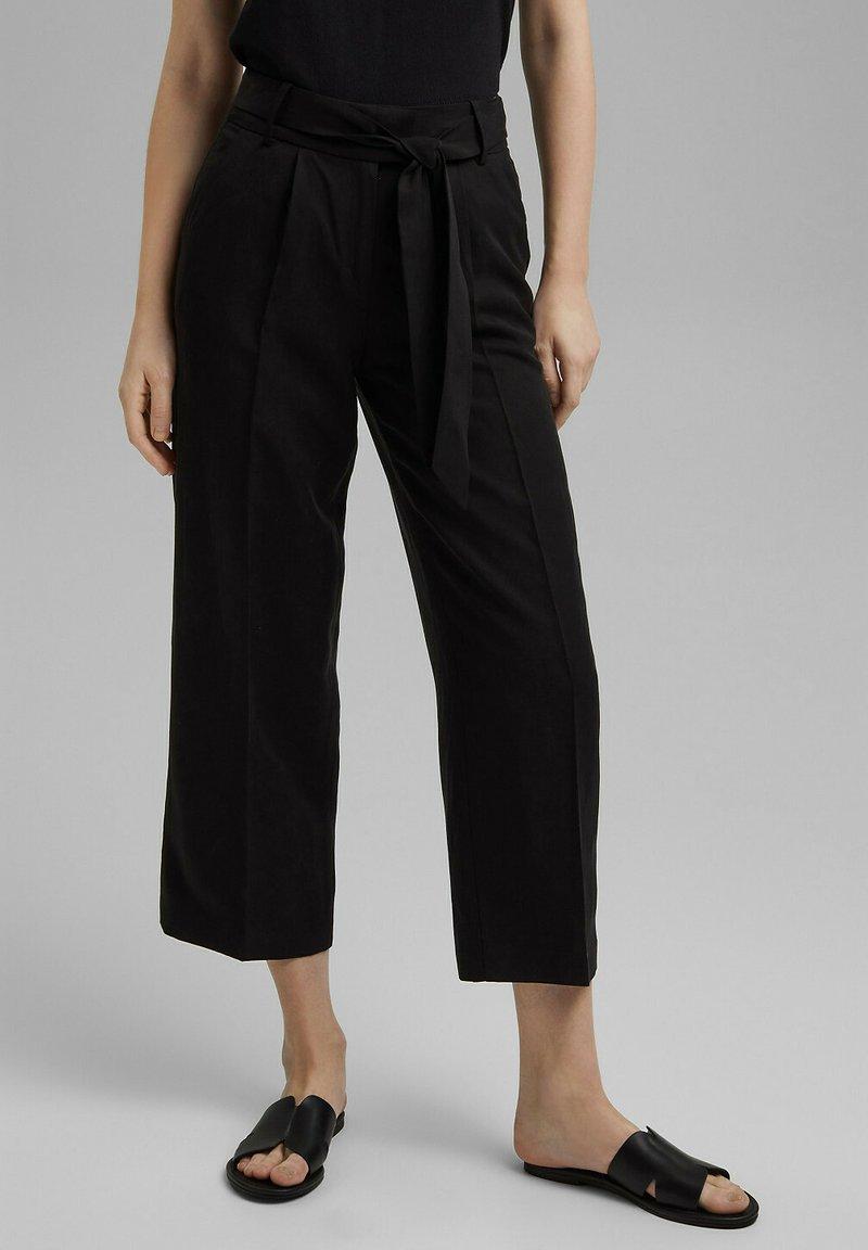 Esprit Collection - MIT BINDEGÜRTEL - Trousers - black