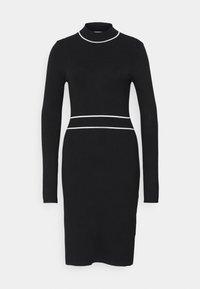 CONTRAST PIPING CINTURED MINI DRESS - Jumper dress - black / white