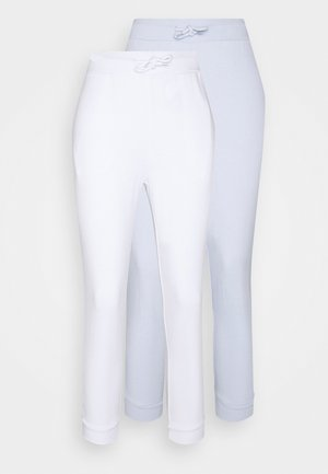 2 PACK - Tracksuit bottoms - white/light blue