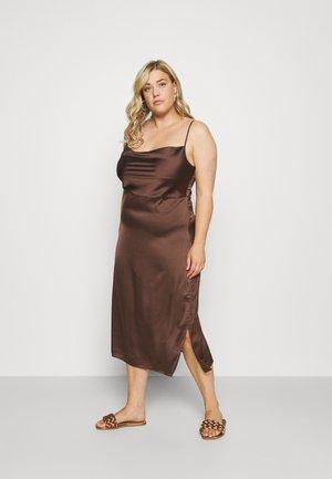 CAMI COWL SLIP MIDI DRESS - Day dress - chocolate
